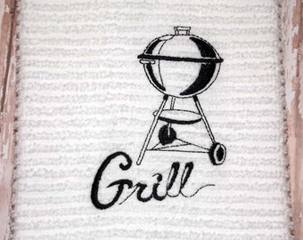 BBQ Grill Embroidered Kitchen Towel