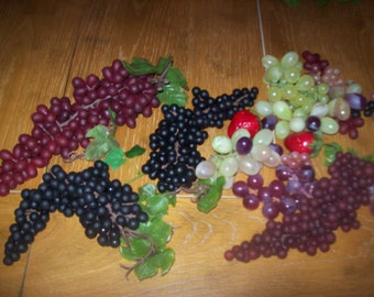 Lot of Artificial Grapes for Centerpiece or Wreathmaking Supplies