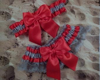 Red Satin Gray Lace Gray Satin Wedding Bridal Garter Toss Set