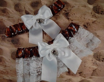 Football Brown White Satin White Lace Football Helmet Charm Wedding Garter Toss Set