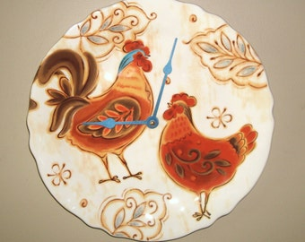 Farmhouse Chic Rooster Wall Clock - Rustic Rooster Clock 11-1/2 Inches - Home Decor - Ceramic Plate Clock - Home and Living -1966