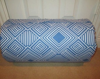 MONOGRAMMED Childrens Pre School THICK COMFY Nap Mat Cobalt Blue White Geometric w/Attached Cuddle Double Sided Minky Blanket and Pillow