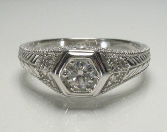 Vintage Diamond Engagement Ring - 0.22 Carat Modern Antique Styled - Antique Reproduction