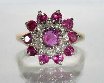 Vintage Ruby and Diamond Cocktail Ring