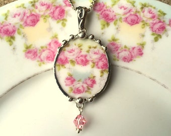 Broken china jewelry necklace pendant antique French porcelain soft cabbage roses with pink Swarovski crystal