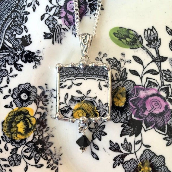 Broken china jewelry necklace pendant Victorian black white toile English transferware with black crystal
