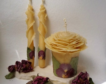 Honey or White Beeswax Rose Unity Wedding Candle, Garden Wedding, Boho, Hippie, Nature Wedding Unity Candle Set, Your Choice Petal Color