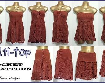 Multi Convertible Top Dress Skirt Crochet Patten PDF Instant Download Advanced