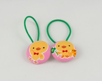 "1 1/8"" Size 45 Yellow Duckling Fabric Covered Button Hair Tie / Ponytail Holder / Party Favor (Set of 2)"