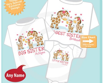 Set of Three Personalized Biggest Sister and Big Sister, and Little Sister Giraffes Shirts and Onesie (04172015c)
