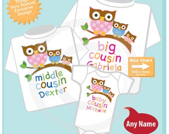 Set of Three Big Cousin Girl Owl Shirt, Middle Cousin Boy Owl Shirt, Baby Cousin Girl Personalized Owl Tee Shirt or Onesie (07102015c)