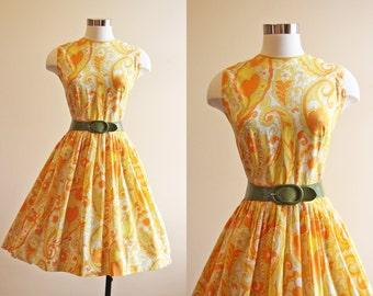 50s Dress - Vintage 1950s 1960s Dress - Citrus Paisley Print Full Skirt Sundress M - Lemon Lime Soda