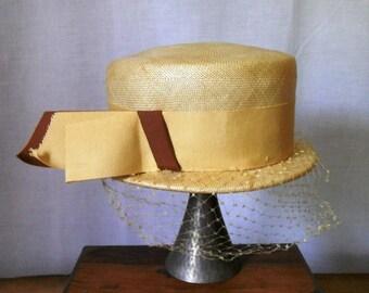 CLoSING SALE Vintage 1960s Jerri-Jo woven raffia straw hat. Size 22. Brown grosgrain ribbon.