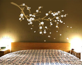 Cherry Blossom branch, Flower, Tree, Bedroom, Butterflies Wall Decals Wall sticker,Wall Decor