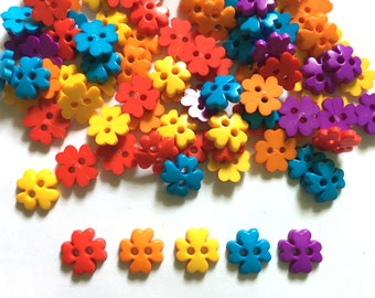 80 pcs clover flower button 10mm Mix hot color