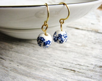 Ceramic Bead Earrings Blue and White Bead Earrings Painted Flower Earrings Blue Botanical Earrings Minimalist Rustic Earrings Garden Nature