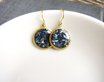 Blue Glitter Earrings, Something Blue, Bridal Blue Drop Earrings, Dangle Earrings, Simple Minimalist Earrings