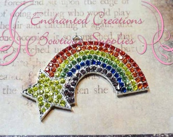 "2"" Rainbow With Rhinestone Star Pendant"