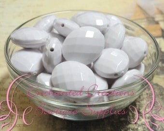 24mm x 20mm White Oval Faceted Acrylic Beads Qty 100 Wholesale