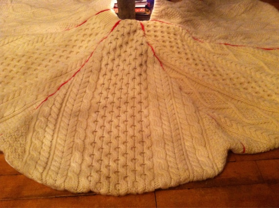 Wool cableknit sweater tree skirt