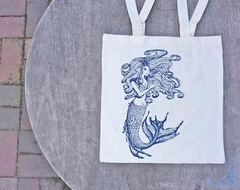 Mermaid Art Tote Bag / Beach Bag / Nautical Tote / Summer Bag