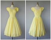 Vintage 1950s Dress | 50s Dress | Yellow 50s Dress | 50s Day Dress | Cotton Dress 1950s