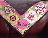 Handmade Pink Baby Girl Quilt Chocolate Brown Modern Floral Soft And Cute Retro Modern Baby Quilt