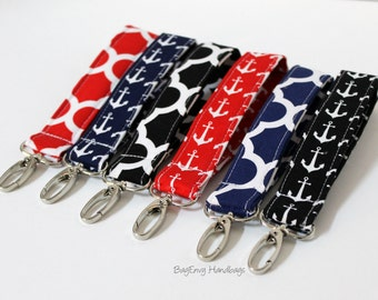 Key Chain / Key Fob - Swivel Clasp Key Wristlet - Choose Your Anchor or Quatrefoil Fabric - Sale
