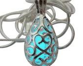 Wishing Teardrop  pendant  Fairy Magical Fairy Glow in the Dark Necklace-aqua-silver  Steampunk Victorian