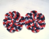Crochet flowers 2 appliques 3 inch embellishment 4 th July patriotic red white blue