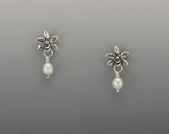 Single Orchid Sterling Silver Post Earrings, Amethyst or Pearl
