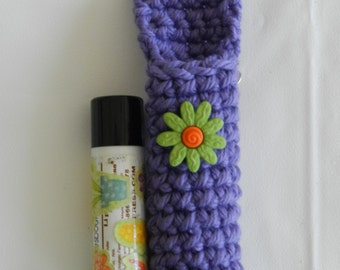 Crochet Purple Lip Balm Cozy/ Crocheted Lip Balm Cozy/ Crochet Purple with Green Flower Lip Balm Cozy