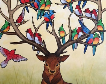 A STAG OF BIRDS