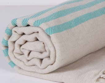 Bath Towel / Beach Towel , Turkish Bath Towel...Linen - Cotton PESHTEMAL Cream-Turquoise