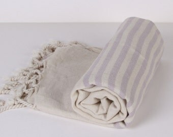 Bath Towel / Beach Towel , Turkish Bath Towel...Linen - Cotton PESHTEMAL Cream-Lilac