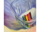 Saving the Last Rainbow Cookie - small original oil painting Jo Bradney / free shipping / food art / afternoon tea cake / gift for mom