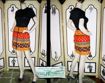 Vintage 1960's Mini Dress in Sweet Patchwork Theme by Jr. Bazaar. Small to Medium.