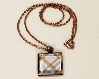 """1"""" Square Glass Tile Pendant - Copper Blue Plaid"""