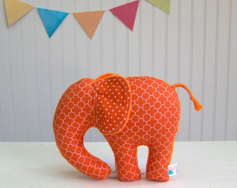 Orange Plush Elephant Toy Minky Stuffed Animal Nursery Decor