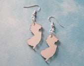 New Jersey Earrings in Silver Mirrored Acrylic- State Jewelry
