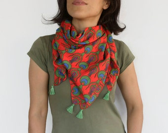Red Scarf %100 Pure Cotton, Boho Chic Summer Head Scarf, LightweightEthnic Scarf Red, Green, Blue, Soft Touch Beach Shawl, Handmade