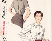 Vintage 1949 Simplicity 2978 UNCUT Sewing Pattern Misses' Blouse Size 12 Bust 30