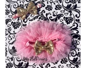 Baby Girl SET- Pink and Gold TUTU Baby Skirt,Cover, Pink Chiffon , Birthday Girl, Pink and Gold , baby headband-Newborn,toddler