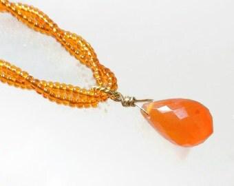 Carnelian Necklace, Orange Bead Necklace, Orange Drop Necklace, Twisted Necklace
