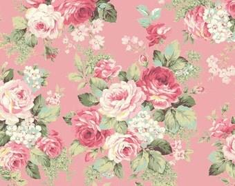 RURU Bouquet Rose For You  Cotton Fabric Quilt Gate RU2220-13B Rose Bouquet on Pink