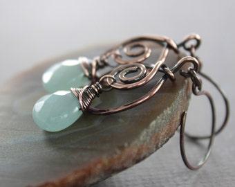 Swirly hoop copper earrings with blue aquamarine color jade stone dangles - Aquamarine earrings - Dangle earrings - Drop earrings - ER013