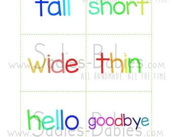 Sight Words Opposites Color