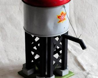 amazing model railway vintage storage tin, advertising promotional water tower