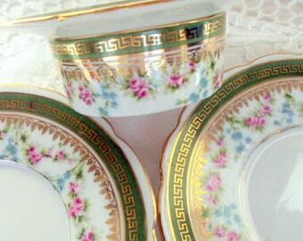 Vintage Austrian Porcelain Ramekin, Unidentified Mark, Cr. 1908, W Inside Laurel Wreath, Green key, Pink Roses, Serving, Dining,