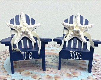 Beach Wedding Cake Topper - 2 Mini Adirondack Chairs with Starfish -  6 Chair Colors and 23 Ribbon Choices Mr.and Mrs. or First Names